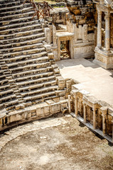 View of the ruins of the amphitheater of Pamukkale, Turkey.