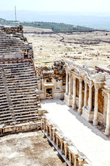View of the ruins of the amphitheater and the nature of Pamukkale, Turkey.