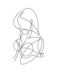 Female Figure Continuous Vector Line Art 5