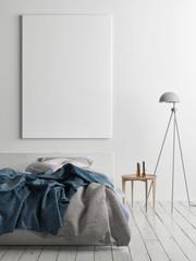 Mock up poster in bedroom, 3d render, 3d illustration