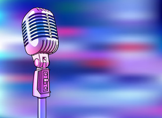 pink-blue microphone on a bright multi-colored background - vector image. A shiny metallic microphone of pink color is surrounded by colored light spots similar to lighting a disco, concert or stage