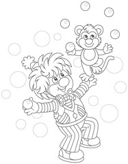 Funny circus clown with his small monkey juggling with balls, black and white vector illustration in a cartoon style for a coloring book