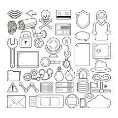 Set of cyber security icons