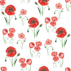 Poppy meadow seamless pattern. Cute red poppies on a white background. Beautiful floral pattern. Watercolor painting.