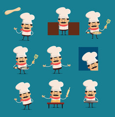 various Pose of cook and Chef Flat Vector Illustration Design