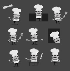 various black and white Pose of cook and Chef Flat Vector Illustration Design