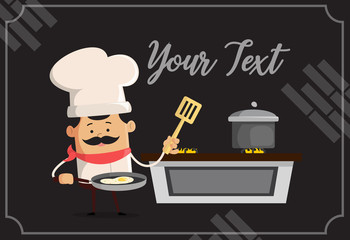 Cartoon Chef cooking in kitchen Flat Vector Illustration Design