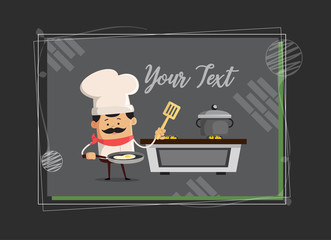 Cartoon Chef cooking in kitchen background Flat Vector Illustration Design