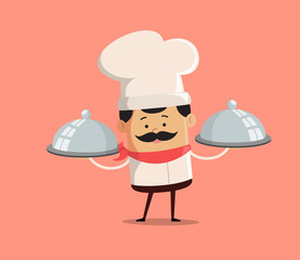 Cartoon Chef ready to serve food Flat Vector Illustration Design