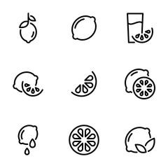 Set of black icons isolated on white background, on theme Lemon, Lime