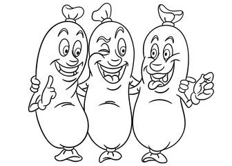Sausages. Three Friends. Coloring page. Colouring picture. Coloring book.
