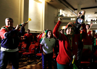 Portuguese descendants celebrate first goal during the FIFA World Cup in Sao Paulo