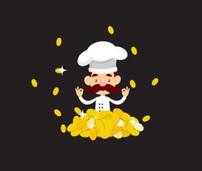 Cartoon Chef wealthy rich man Flat Vector Illustration Design