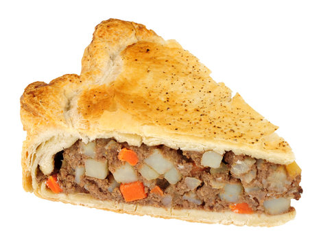 Slice of meat and vegetable pie isolated on a white background