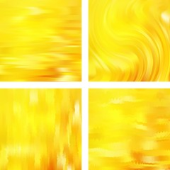 Set with yellow abstract blurred backgrounds. Vector illustration. Modern geometrical backdrop. Abstract template.
