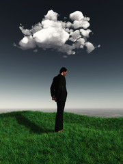 3D male figure looking sad under a cloud