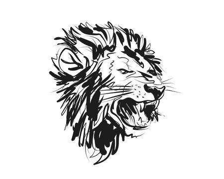 Vector sketch lion head