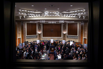 People attend the Executive Branch Job Fair hosted by the Conservative Partnership Institute at the Dirksen Senate Office Building in Washington