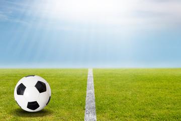 Fußball auf dem Rasen im Stadion bei blauem Himmel