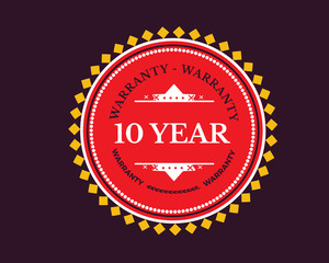 10 year warranty icon stamp