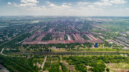 Aerial panoramic view of the industrial city of Krivoy Rog in Ukraine.