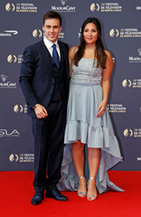 Princess Stephanie of Monaco's son, Louis Ducruet pose with his fiance, Marie, at the 58th Monte-Carlo Television Festival