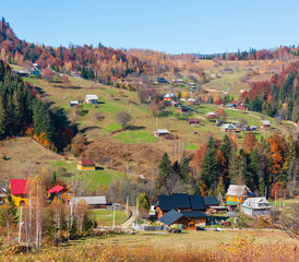 Autumn Carpathian village (Ukraine).