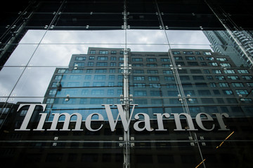 Signage that reads Time Warner is seen at the entrance of Time Warner Center in the Manhattan borough of New York City, New York