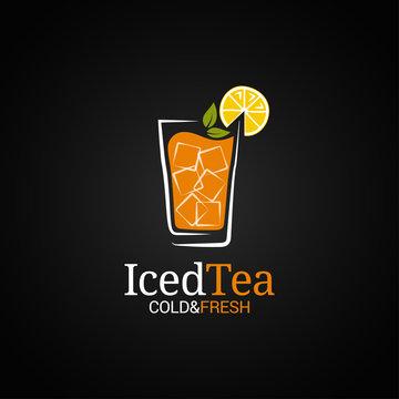 Ice tea glass logo. Cold iced tea on black background