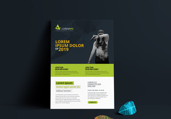 Black and White Flyer Layout with Green Header