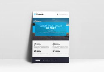 Flyer Layout with Large Header and Blue Accents