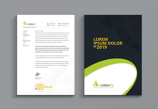 Black and White Letterhead Layout with Wave Design