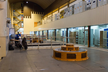 A general view shows the turbine hall at the EDF Super Bissorte pumped-storage hydroelectric power station in Orelle