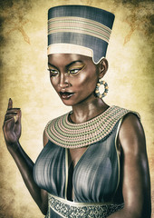 Portrait of an Egyptian Queen with an evil face.
