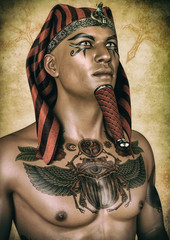 Portrait of an Egyptian pharaoh with his chest tattooed.