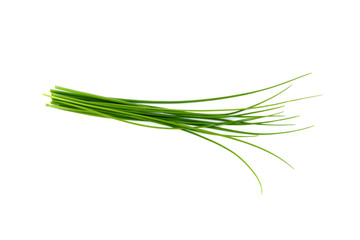 Fresh green chives, garden herbs, Isolated against a white background. Wall mural
