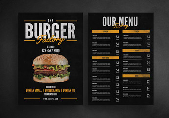 Burger Restaurant Menu Layout