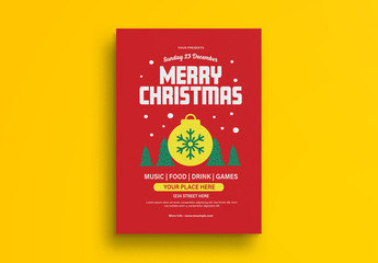 Christmas Flyer Layout with Festive Illustrations