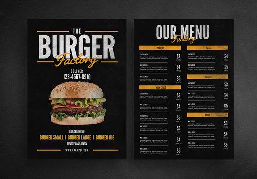 Burger Restaurant Menu Layout