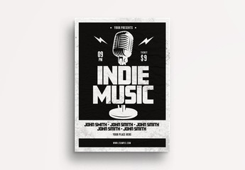 Indie Music Flyer Layout with Vintage Microphone Element
