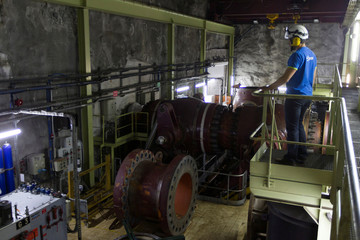 A general view shows the valve room at the EDF Super Bissorte pumped-storage hydroelectric power station in Orelle