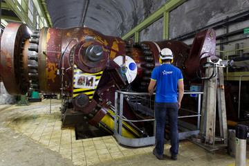 A general view shows the valve room of the EDF Super Bissorte pumped-storage hydroelectric power station in Orelle,