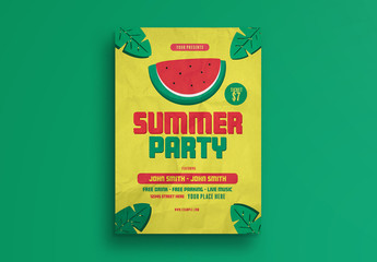 Summer Party Flyer Layout with Watermelon Illustration