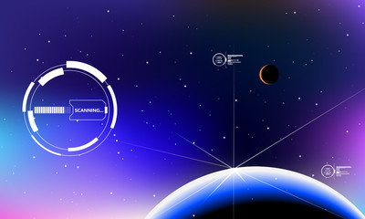 HUD Futuristic Elements User Screen Interface Monitor In Galaxy Space Vector Background. System Scan Star Dot Scifi With Planet Universe Illustration
