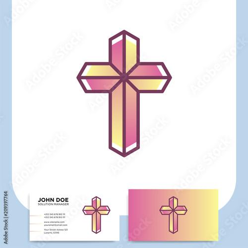 Modern Church 3d Cross Logo Christian Symbol For Baptist Or