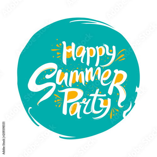 Happy Summer party vector logo  Turquoise round template for