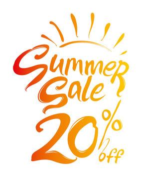 Summer Sale vector illustration. Discounts 20% off. Hand lettering inspirational typography poster. Handwritten banner, logo, label or badge.