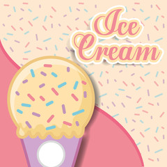 ice cream vanilla cone sparkles sweet background vector illustration