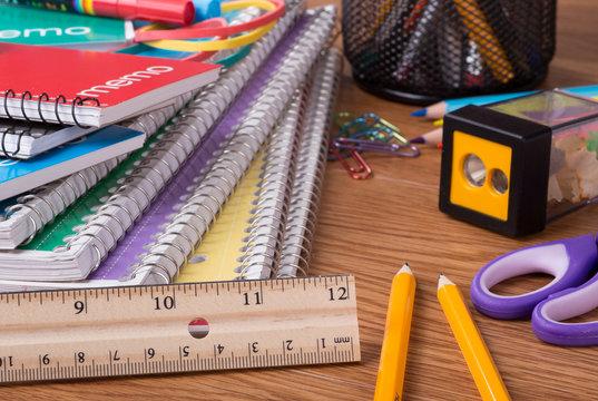 Closeup of an Assortment of School Supplies