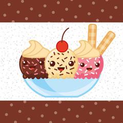 ice scream kawaii three flavors cup chocolate strawberry passion fruit sticks vector illustration